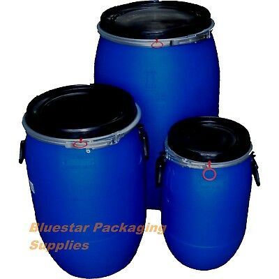 Open Top Plastic Storage Drum Barrel Keg With Lid 30 60 120 Litre Food Grade New