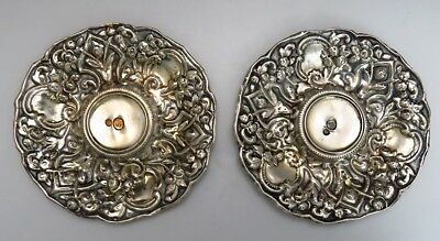 Charming Pair Turkish Silver Saucers / Dishes