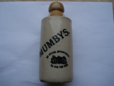 C1910 Vintage Mumbys By Special Appointment To The King Stone Ginger Beer Bottle