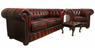 Chesterfield 3 Seater+Club Chair+Footstool Real 100% Leather Handmade Sofa Suite