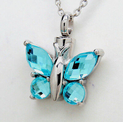 Blue Topaz Color CZ Butterfly Cremation Urn Necklace || Ashes Keepsake