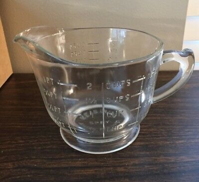 Vintage Spry Clear Glass 2 Cup/16 oz. Measuring Mixing Pitcher Advertising SPRY