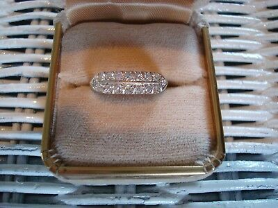 Vintage Art Deco Double Row Diamond Band 14k WG .50 ctw