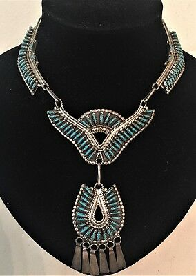 Classic Zuni Navajo Native American Petit Point Sterling Turquoise Necklace Aafa