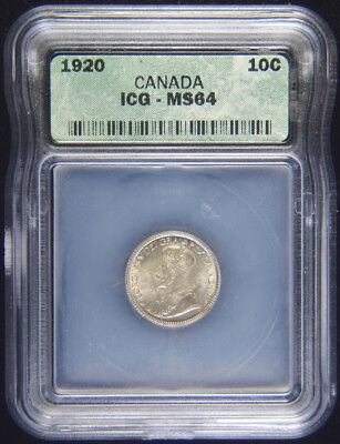 1920 Canadian Dime Graded ICGS MS-64, beautiful coin, nice luster, L@@K!