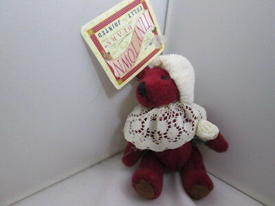 1 of 2 BOY DRESSED Tiny Town Teddy Bears Russ Berrie mwt jointed MAROON cap rose
