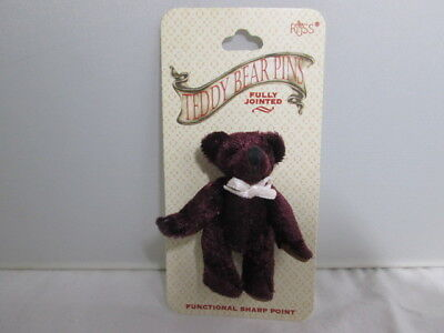 1 of 3 Chocolate Brown Teddy Bears PINS Russ mwt jointed WhiteBow Jewelry Brooch