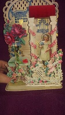 Vintage Victorian Valentine Card Honeycomb Die-Cut Pop-Up Decoration Germany