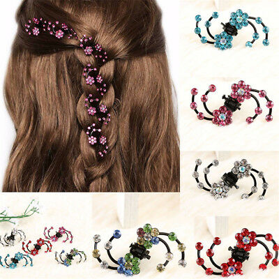 6Pcs Children Girls Hair Pin Claw Clip Mini Headwear Rhinestone Flowers Hairpins