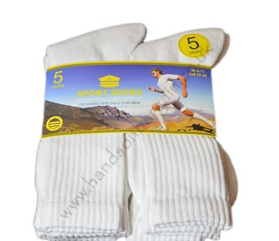 New 5 Pairs Men's Sports Socks White Exercise Fitness Gym Running Work