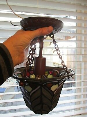 Tiffany Style Leaded Stained Glass Hanging Ceiling Mount Pendant Light Fixture