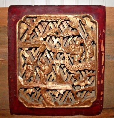19c Antique Chinese Gilt Gold Paint Carved Wood Carving Relief Panel Wall Plaque