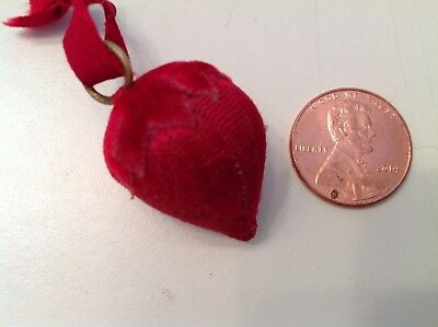 Old Early Red Satin/Velvet Strawberry Sewing Emery Needle Sharpener Pin Cushion