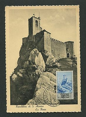 SAN MARINO MK 1952 ROCCA CASTILLO BURG CASTLE MAXIMUMKARTE MAXIMUM CARD MC d1968