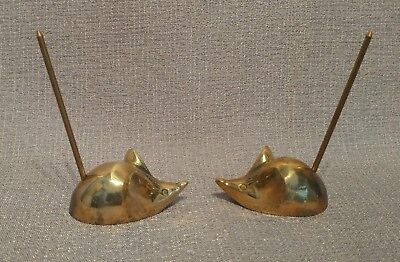 Pair of Vintage Brass Mice Long Tails