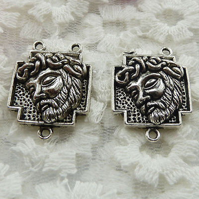 Free Ship 20 pieces Antique silver rosary Jesus connector 27x21mm #308