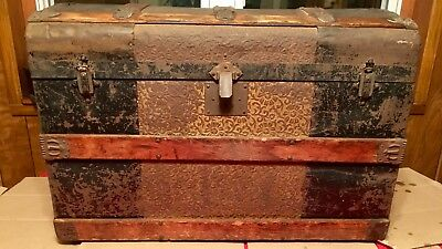 Antique Embossed Dome Top Steamer Trunk