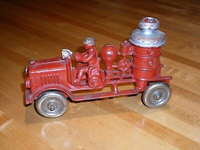 Antique Toy Cast Iron 1930 Hubley Pumper Fire Truck in Very Good Condition