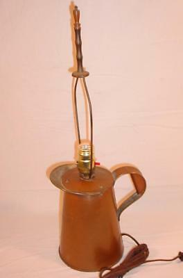 Vtg Copper Pitcher Arts & Crafts Mission Electric Table Lamp Brass Harp & Finial