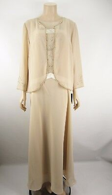 NEW 2 Piece Mother of the Bride Jacket & Gown Dress Champagne Beaded Trim Sz 14