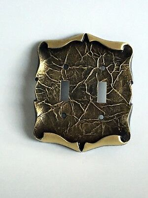 Vntg. Amerock Brass Double Light Switch Plate Carriage House Antique English 5e