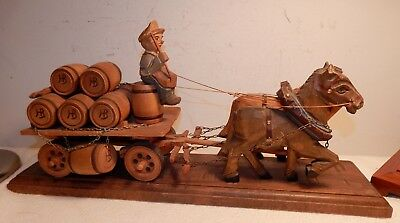 Vintage Hofbrau Beer Wooden Carved Beer Wagon w Horses