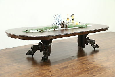 Oak 1900 Antique 5' Round Dining Table, 6 Leaves, Carved Lion Paw 11' Long