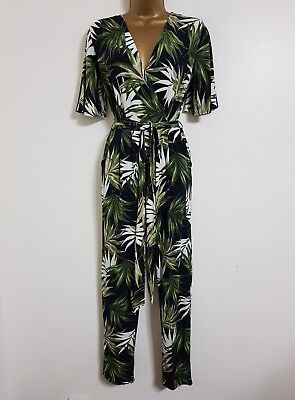 Ex M&Co 8-22 Wrap Front Palm Floral Print Jumpsuit Green Black & White Occasion