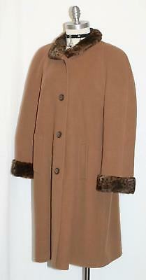 WOOL + CASHMERE ~ Made In ITALY BROWN Women Dress LONG Swing Overcoat Coat 20 XL
