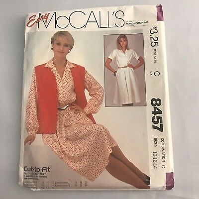 Vintage Easy McCalls 8457 1983 Sewing Pattern Size Misses Sz 10-12-14 BB