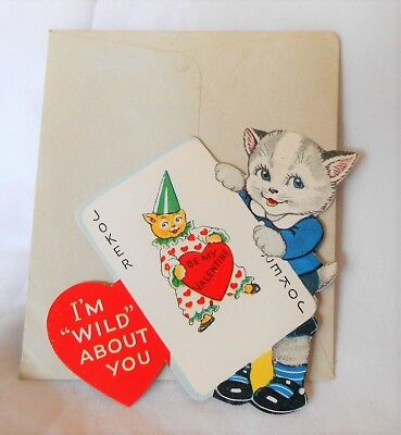 Vintage VALENTINE Greeting Card Kitty Cat with Joker A-Meri-Card #100
