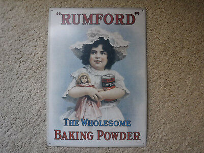 "1992 Rumford Baking Powder Advertising Tin Sign 11 x 16"" ~ girl holding doll USA"