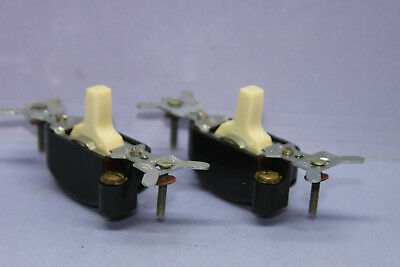 Lot of 2 GE Lighted Quiet Toggle Switches - Ivory - Single-Pole - 15A 120V