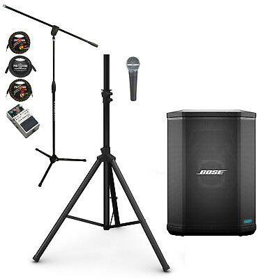 Bose S1 Pro PA System w/ Shure SM58 Vocal Mic, Stands Cables and Line Selector