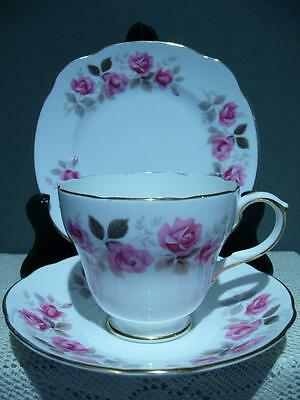 Duchess Bone China Trio - Silver Rose - Cup Saucer Plate - Vintage High Tea