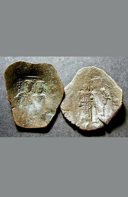 """2 Byzantine Emperor Coins Lot, Trachy, """"Cup"""" Coins, ca 10th Cent AD"""