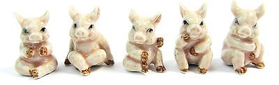 Miniature Hand Painted Porcelain Pig Figurine -Tiny Pink Pigs Set of 5