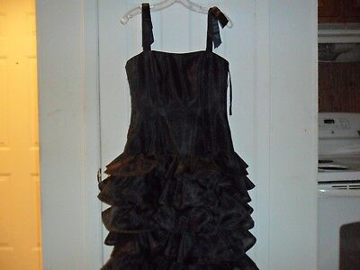 Vtg 80s Victor Costa BlackTulle Peplum Cocktail Party Dress  Prom Rare(New) 8