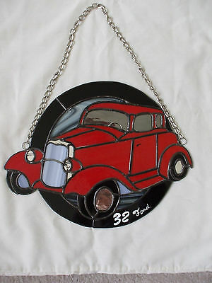 Handmade Leaded Stained Glass 1932 Ford Coupe Wall Hanging/Sun Catcher