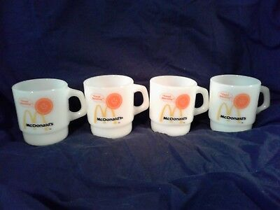 Lot of 4 Vintage Fire King McDonald's Good Morning Mugs Cups Anchor Hocking