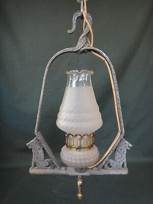 Antique Hammered Mission Lantern w Figural Wolf - Pendant Ceiling Light Fixture
