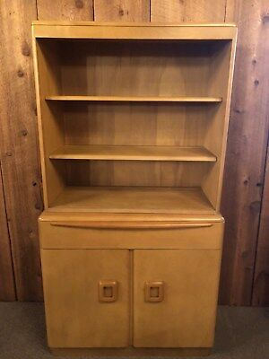 Heywood Wakefield Mid Century Modern Server with China Top Wheat Cabinet
