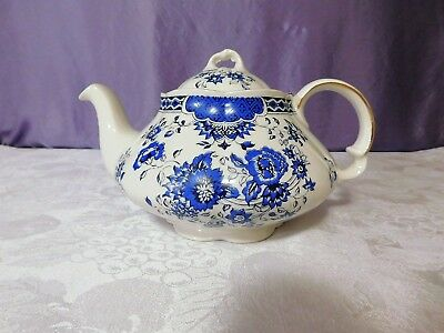 Vintage Ellgreaves White and Blue FloralTea Pot, Made in England