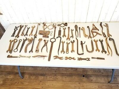 Lot of 50 Antique Vintage Iron Farm Tools ~ Mechanic Carpentry Tractor Wrenches