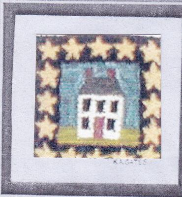 House with Stars Punch needle embroidery pattern on cloth Flok Arrts Designs