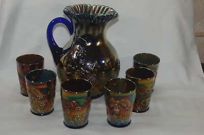 Fenton FLORAL & GRAPE Variant Cobalt Carnival Pitcher & 6 Tumblers