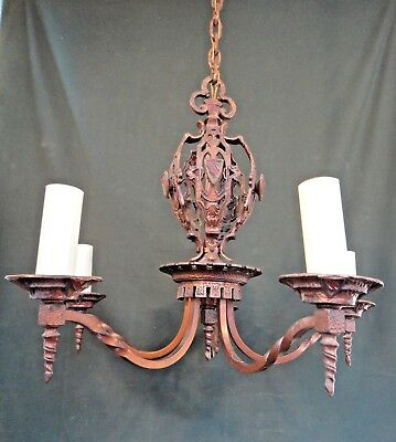 Antique Arts & Crafts 5 Arm Chandelier - Shield Pendant Ceiling Light Fixture