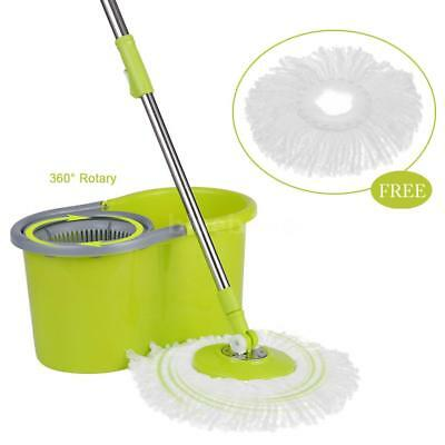 Microfiber Spining Mop Bucket and 2x 360° Heads Rotating Easy Floor Mop B6V0