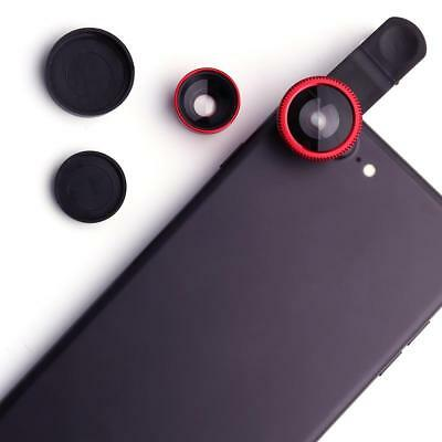 Hot Wide Angle+Fish Eye+Macro Clip On Camera Lens Kit For Universal Smart Phone