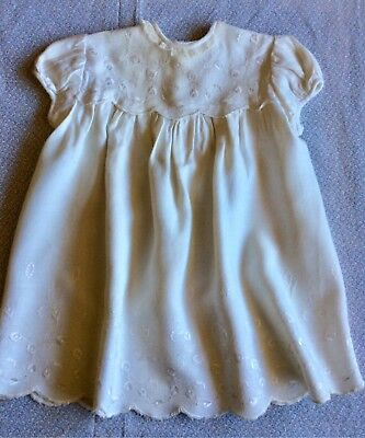 Vintage Antique Baby/Dolls Dress Cream Brushed Rayon Emboidered Lace Christening